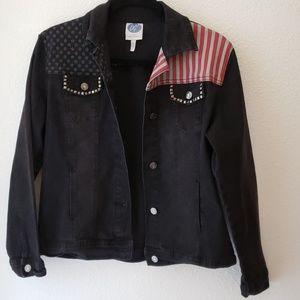 🇺🇸 Patriotic Black Jean Jacket 🇺🇸